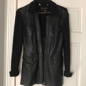 Fitted leather jacket. Blazer length
